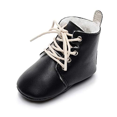 MASOCIO Baby Winterschuhe Junge Mädchen Babyschuhe Winter Boots Lauflernschuhe Stiefel Winterstiefel Schuhe Schwarz Größe 20 12-18 Monate