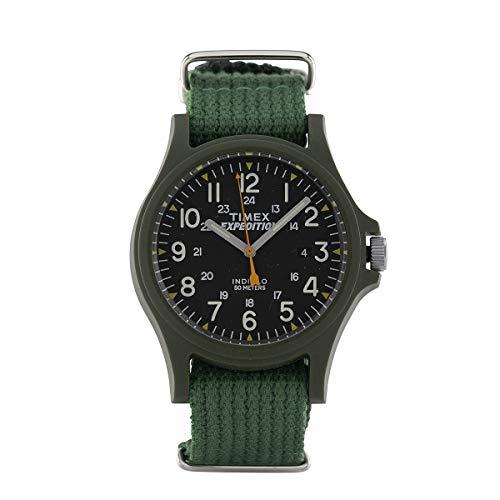 Timex Orologio al quarzo ACADIA quadrante in resina 40 MM case colore verde - quadrante nero cinturino in tessuto Verde 20 MM con luce notturna INDIGLO resistente all'acqua fino a 50 M di profondita