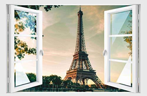 Skins4u Fenster 3D Optik Wandtattoo Wandbild Aufkleber Dekoration Bild Foto Tapete Motiv Paris Eiffelturm