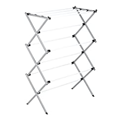 """Large drying rack provides 24-linear feet of drying area Saves money and energy costs by drying clothes on drying rack Constructed from steel with a rust-resistant white finish Folds flat to 3"""" width for easy laundry room storage Drape or lay flat cl..."""
