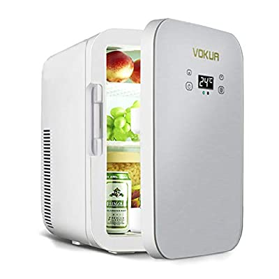 12 Liter Mini Fridge, VOKUA 10 Can AC/DC Portable Cooler and Warmer with Digital Display and Temperature Control, Compact Refrigerator for Bedroom,Office,Skin Care,Medications,Breastmilk,Travel and Car