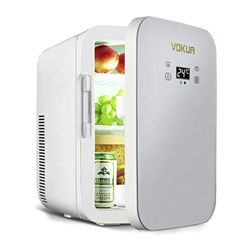 12 Liter Mini Fridge,VOKUA 10 Can AC/DC Portable Cooler and Warmer with Digital Display and Temperature Control,Compact Refrigerator for Bedroom,Office,Skin Care,Medications,Breastmilk,Travel and Car