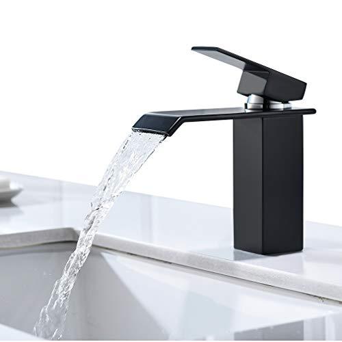 CECIPA Schwarz Wasserhahn Wasserfall Bad Armatur Waschbecken für Badezimmer , Waschbeckenarmatur Waschtischarmatur Waschtischbatterie Badarmatur Einhandmischer mit Moderner Stil,Schwarz