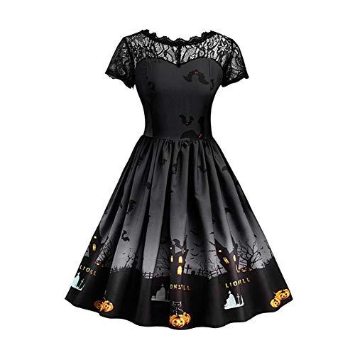 Haodasi Halloween Kostüme für Damen - Plus Größe A Line Kleid Vintage Stil Kurzarm Mesh Patchwork Kürbis Gedruckt Party Swing Kleid
