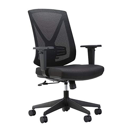 TANUMI Classic Home Office Chair | Ergonomic High Mesh Swivel Desk Chair with Adjustable Height Arm Rest Lumbar Support and Upholstered Back