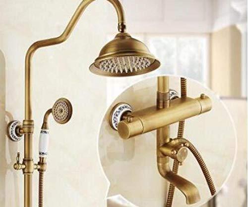 Grifo de ducha termostático de bronce antiguo, juego de grifo de baño, juego de ducha con grifo de ducha, doble manija de pared 2,X1K2YSBOCPW0T