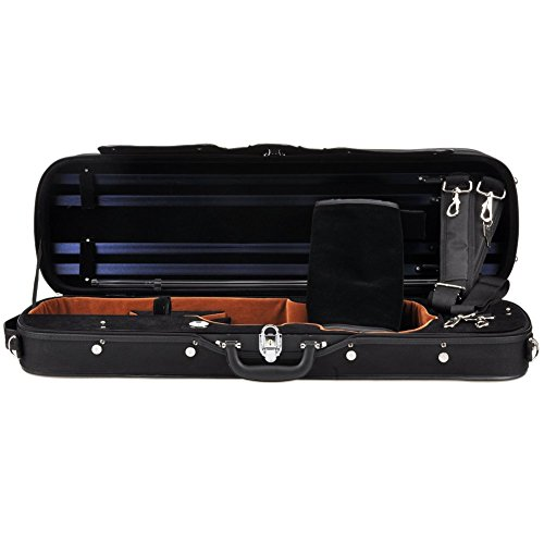 ADM Professional Sturdy Violin Case 4/4 Full Size, Oblong Wooden Acoustic Violin Case with Hygrometer, Lock, Spacious Compartments and Adjustable Straps, Leather Handle