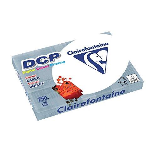 Clairefontaine 1857SC Druckerpapier DCP Premium Kopierpapier für farbintensiven Bilderdruck, DIN A4, 21 x 29,7cm, 250g, 1 Ries mit 125 Blatt, Weiß