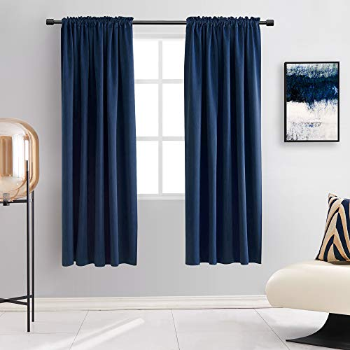 DONREN 72 Inch Length Navy Blue Blackout Curtains -Thermal Insulated Energy Efficient Curtains for Bedroom,Set of 2 Panels,W 42 x L 72
