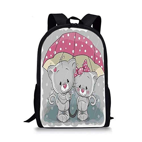 HOJJP ñ mochila escolar von ruedas Cartoon Stylish School Bag,Partner Kittens with Umbrella under Rain Cute Couple Love Romance Artsy Image for Boys,11