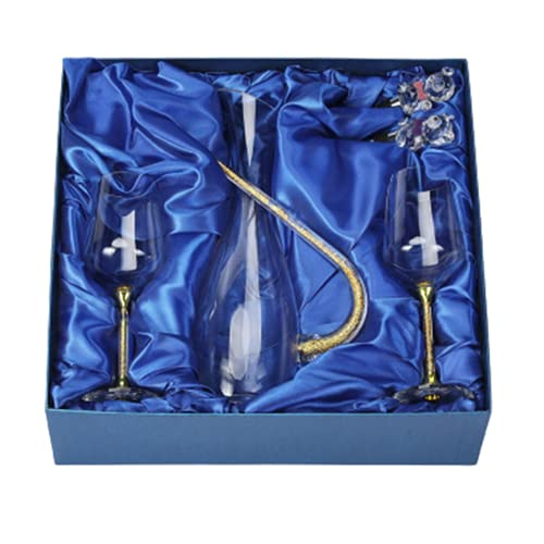 decantadores de Vino Conjunto de decantador de Vino Tinto Copa de Cristal con Fondo de Diamante Copa de Vino de Lujo Ligera para el hogar,