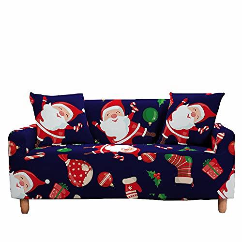 FANSU Funda de Sofá Elástica para Sofá de 1 2 3 4 Plazas, 3D Navidad Ajustable Cubre Sofa con 1 Funda Cojín,Antisuciedad Antideslizante Protector de Muebles (Bola Decorativa,2 plazas/145~185cm)