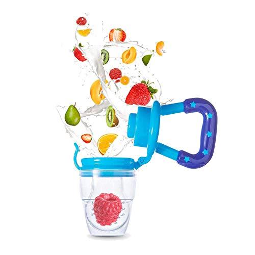Baby Fruchtsauger Schnuller - Yisscen Frischkost Schnuller mit 3 verschiedenen Größen Silikon Schätzchen Schnuller Ersatz (S, M, L) - Baby Zahnen Nibbler Beißring Schnuller für Obst und Gemüse (Blau)
