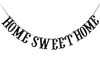 Home Sweet Home Banner for Housewarming Patriotic Military Decoration Family Party Supplies Cursive Bunting Photo Booth Props Sign  Black Glitter