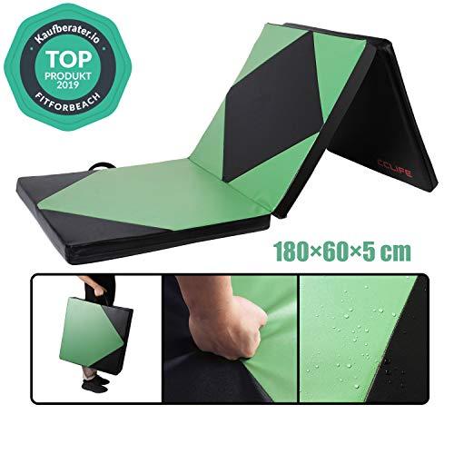 CCLIFE Colchoneta Plegable de Espuma para Gimnasia Yoga Deportiva Yoga estrilla Triple Plegable 180/60/5cm, Color:Negro y Verde 180x60x5cm