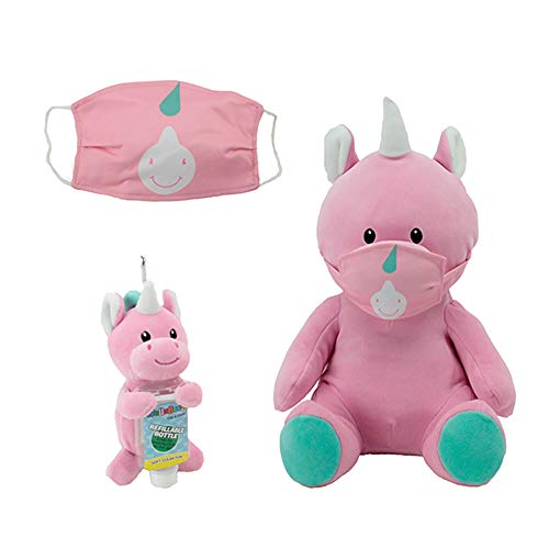 Animal Adventure, WelloBeez – Antimicrobial Plush, Mask Mate – Masked Plush with Additional Face Mask and Clip & Clean – Plush Keychain with Empty, Refillable Sanitizer Bottle, Unicorn Bundle