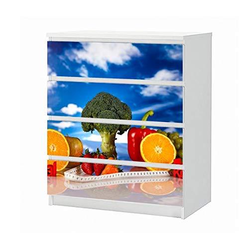 Set Möbelaufkleber für Ikea Kommode MALM 4 Fächer/Schubladen gesund Essen Brokkoli Orange Melone Fitness Aufkleber Möbelfolie sticker (Ohne Möbel) Folie 25B652