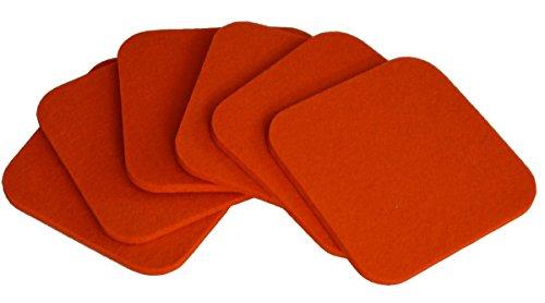 myFilz – Feutre Lot de 6 Soucoupe carré en 5 mm Feutre 10 x 10 cm