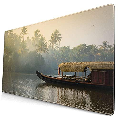 Alfombrilla de ratón de 300 x 800 mm,Kerala Orange Houseboat Anclado en Las orillas,Naturaleza Tranquila,Parques Indios,Viajes turísticos de Kochi Cochin,con Superficie de computadora PC Impermeable