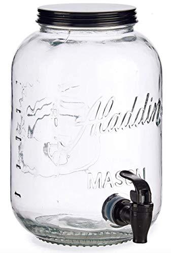 TIENDA EURASIA Dispensador de Agua/Bebidas con Grifo - Recipiente de Cristal y Dosificador Metálico - 3800 ML (Negro, Sin Soporte - 16,5 x 26 x 16,5 cm)