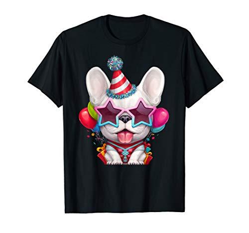 White French Bulldog in Glasses Birthday T-Shirt