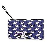 Bolso de lona con diseño de panda para monedas de viaje y maquillaje con asa de lona con cremallera, bolsa de aseo portátil