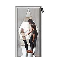 網戸 玄関 ドア用 マグネット 開閉式 出入り楽々 自動で閉まる 蚊帳 虫よけ 蚊取り 簡易あみ戸カーテン 簡単取り付け/ドア用網戸 虫、蚊、ハエなどを避ける 125 x 180 cm - はいいろ