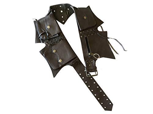Leather Utility Belt | 5 pockets | travel, festival, cosplay, hip bag, fanny pack (Dark Brown)