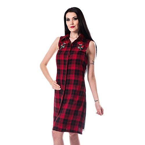 Vixxsin Heidi Karo jurk (rood/zwart)