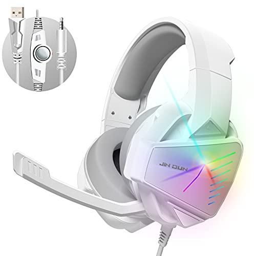 【2021 Upgrade】 7.1 Stereo Surround Sound with Mic PC Headset 50mm Drivers Noise Canceling Over Ear Headphones PS4 Gaming Headset Xbox One Headset Compatible with Xbox One, Switch, PC, PS3, Mac, Laptop