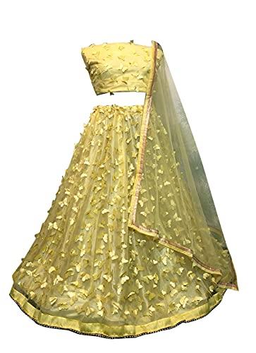 SKY VIEW FASHION Traditionelles indisches Party-Hochzeitskleid, Lehenga mit ungenähtem Choli, gelb, 42