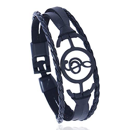 CAOLATOR Armband Leder Armbänder Vintage Lederarmband Schwarz Musik Männerarmband Damenarmband Geflochten Armreif für Damen Herren Schwarz