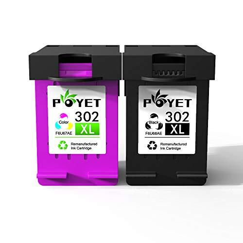 Poyet Remanufacturado 302XL Cartucho de Tinta Reemplazo para HP 302 HP302 XL Negro y Color Cartucho de Tinta Compatible con HP Envy 4520/4521/4522/4523 / 4524HP OfficeJet 3830/3831 (1 Negro, 1 Color)