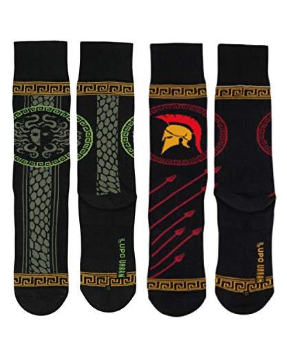 Lupo 2 Pairs Mythology Kit Stylish Socks Miscellaneous Cool Prints Fun Cotton Patterned Funky Fancy ((2-pairs) Mythology Kit, Medium)