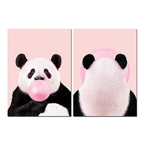 CNHNWJ Bubble Gum Wall Art schattig dier bedrukt Panda canvas foto blouse roze grappige decoratie kinderen slaapkamer decoratie thuis 50 x 70 cm x 2 stuks/zonder lijst
