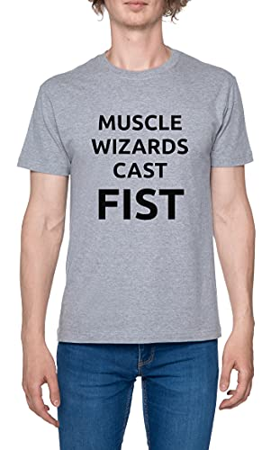 Muscle Wizards Cast Fist Camiseta para Hombre Gris De Manga Corta Ligera Informal con Cuello Redondo Men's Tshirt Grey M