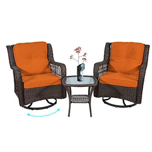 3 Piece Wicker Patio Furniture Set Outdoor Swivel Furniture Chair,Rattan Rocking Chair Outdoor Furniture Yard Garden Lawn Porch,Rocker Dining Bistro Table and Brown Chairs Orange Cushion Outside