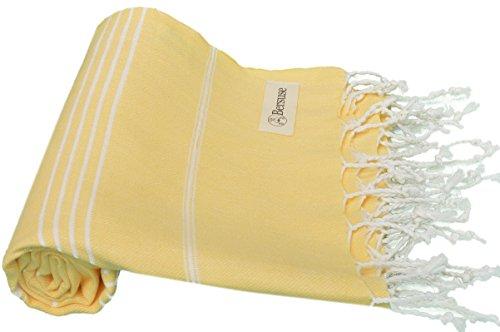Bersuse - Asciugamano turco Anatolia, 100% cotone, 94 x 177 cm, colore: Giallo
