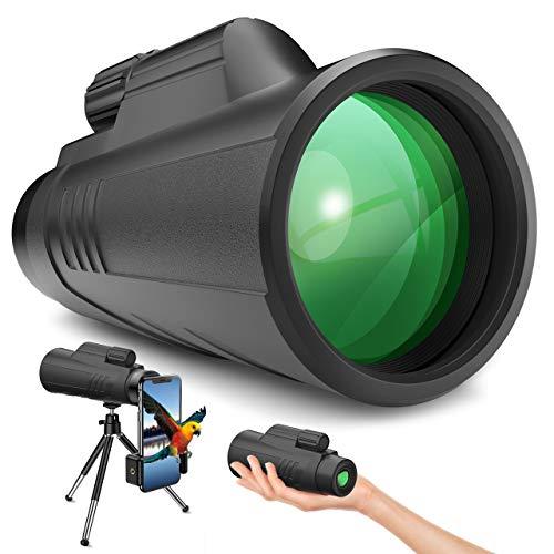 Gafild Telescopio Monocular, FMC Prisma Monocular Impermeable y Antivaho Monoculares para avistamiento Aves Caza Camping Concierto con Adaptador de Soporte para Smartphone y trípode
