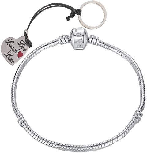 RKC Jewelz 22cm Silver Plated Pandora Style Snake Chain Charm Bracelets for Women Girls