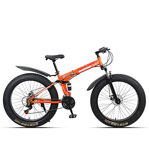 WLWLEO Bicicleta de montaña para Hombre de 26 Pulgadas 4.0 Bicicleta de Nieve Fat Tire Bicicleta Plegable Absorción de Choque Doble,Bicicleta Profesional de Velocidad Variable,Naranja,24 Speed