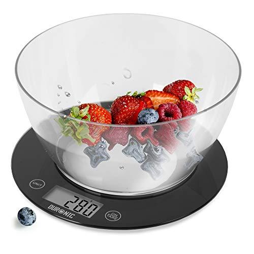 Duronic KS7000 Báscula de cocina digital de 20 cm diametro – Pantalla LDC con iluminación en azul – Peso máximo 10kg – Bol de 1.5l – Función tara – Mide en gr, lb, oz y ml - Color negro
