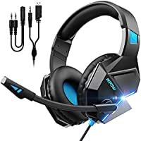 Mpow EG10 Gaming Headset with 3D Surround Sound, Noise Cancelling Mic, 50mm Drivers & LED Light