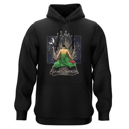 Sweat-Shirt à Capuche Noir Parodie One Piece - Game of Thrones - Roronoa Zoro X Eddard Stark - Game of Swords (Sweatshirt de qualité Premium de Taille L - imprimé en France)