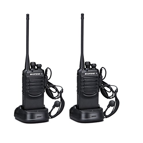 BaoFeng BF-888SA Long Range and Rechargeable 2 Ways Radio Walkie Talkies with Earpieces for Adults Trolling Camping Hiking Hunting Travelling -2 Packs