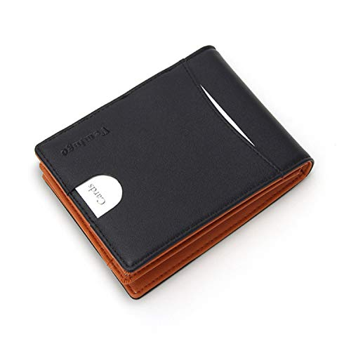 Vemingo Men's Wallet with Coin Pocket / Wallet Leather Man with Clip and RFID Lock for Various Personal Cards (Black And Brown)