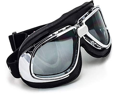 "SOXON® SG-301 ""Night"" · Jet-Brille · Motorrad-Helm Flieger-Brille Retro Roller Scooter Cruiser Oldtimer Vespa Ski-Brille Sport-Brille Vintage Pilot Biker Goggles · BLACK SILVER CLEAR RAINBOW"