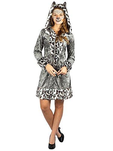 Schneeleopard Kleid Kostüm weißer Leopard mit Kaputze (44/46)