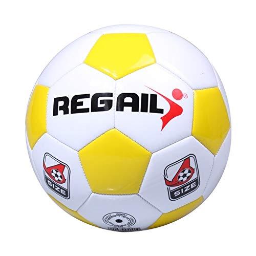 Nr. 4 Explosionsgeschützter maschinengenähter Fußball für Teenager-Training , Leichter Lederfußball (schwarz) Interessant (Color : Yellow)