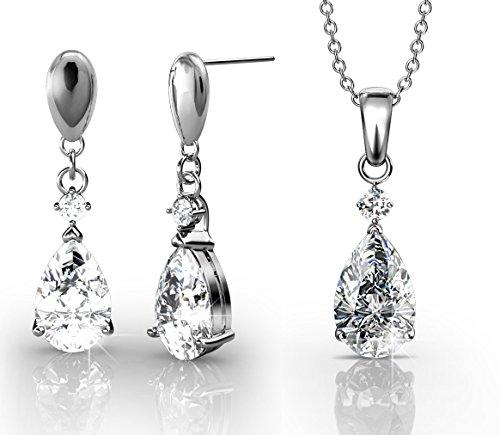 Yolora ketting met hanger en oorbellen set met Swarovski kristal - geschenkset dames - zilver kleurig - oorhangers - YO-003